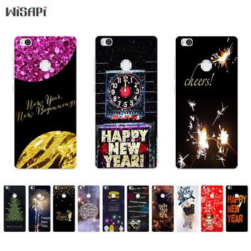 Silicone Phone Case For Xiaomi 4S Shell for Mi 4c / 4i Back Cover Transparnet for Xiaomi4 TPU Bumper Happy New Year Pattern