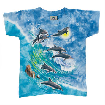 Surfing Dolphins Tie Dye Youth T-Shirt
