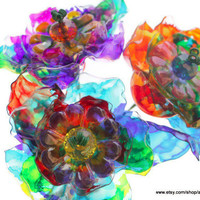 Fathers Day Gift, Garden Art Yard Stakes, Colorful Fantasy Tie Dye Flowers, Recycled Art, Suncatchers, Rainbow Glass