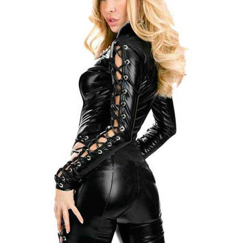 HU&GH Latex Catsuit Faux Leather Jumpsuit Women Lace Up Bodycon Stretchy Jumpsuit Clubwear Leotard Fantasia Latex Costumes