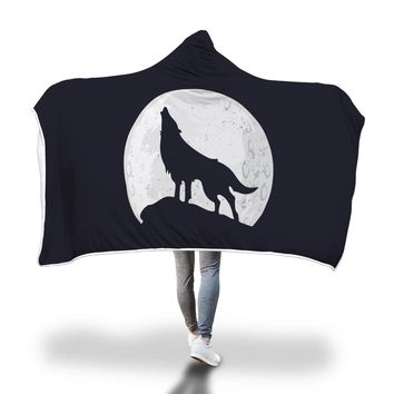 Wolf Hooded Blanket Adult And Youth Sizes Black Color