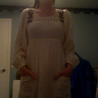 White Hippie Dress/Tunic with Pockets (Size 6)