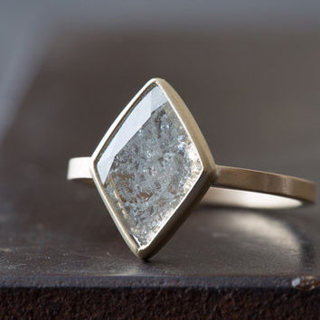 Natural Clear-White Diamond Slice Ring