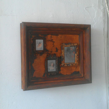 Rusty Ghost Mirror Collage in Antique Wood Shadowbox Frame