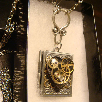Steampunk Neo Victorian Clockwork Gears and Watch Parts Upcycled Heart Book LOCKET Necklace- Makes a great VALENTINES DAY Gift (1599)