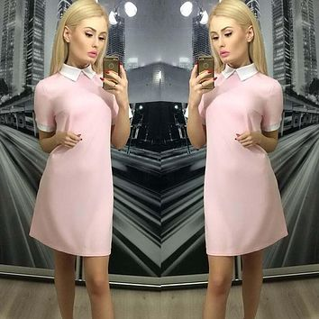 Women Short Sleeve Patchwork Turn-Down Collar Straight dress Casual Party Office OL Slim Mini dress Pink Navy blue Plus Size