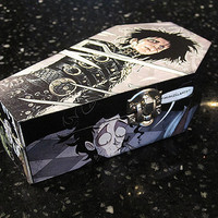Tim Burton's Edward Scissorhands Comic Coffin Wood Box - Gothic Horror Nerd Geek Trinket Keepsake Box