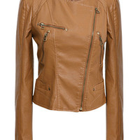 Faux Leather Zip Long Sleeve Jacket