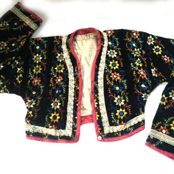 Vintage Bolero Jacket Floral Embroidered Black Velvet Long Sleeve Theater Costume Play Production Small Woman or Child