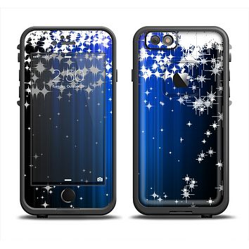 The Blue & White Rain Shimmer Strips Skin Set for the Apple iPhone 6 LifeProof Fre Case
