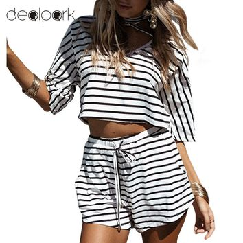 Women Two-piece Set Stripe Jumpsuit Romper Strap Bow Waist Tie Overalls Cool Summer Beach Playsuit White Casual Outfit