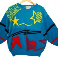 Vintage 80s Stars and Shapes Tacky Acrylic Ugly Sweater Women's Size Medium (M) $22 - The Ugly Sweater Shop