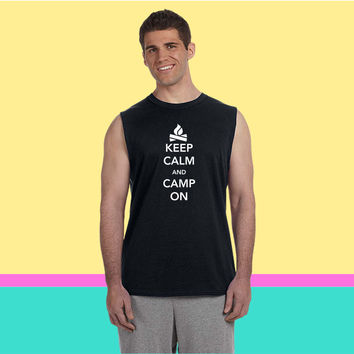 Keep Calm and Camp On Sleeveless T-shirt