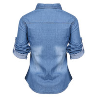 Women's Jeans Shirts Long Sleeve blusas femininas Fashion casual Clothing Elegant Blouse Denim Shirts For Woman