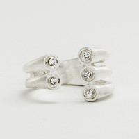 Silver Triple Cuff Ring - Clear