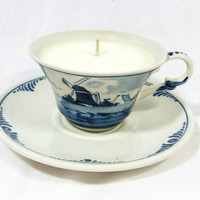 Vintage Delft's Hand painted Holland Windmill Teacup Scented Soy Wax Candle