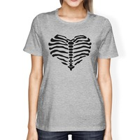 Skeleton Heart Womens Grey Shirt