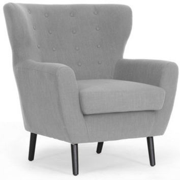 Lombardi Light Gray Linen Modern Club Chair