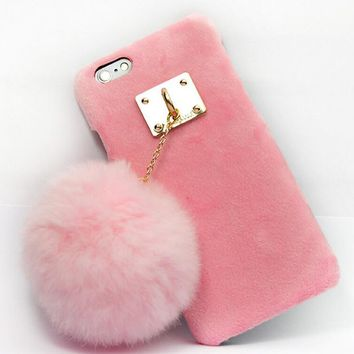 furry rabbit tail case cover for iphone 5s 6 6s plus gift 152  number 1