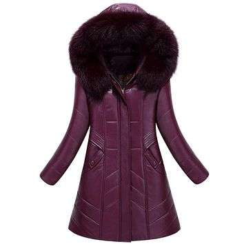 Women Winter Leather Jacket PU Parkas 2017 New Ladies Fur Collar Hooded Cotton-padded Long Coat Female Outerwear Large Size 8XL