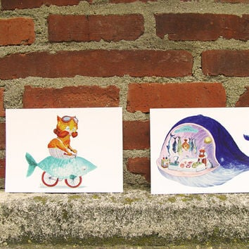 Hipster Cat and Whale Postcard Set - nautical cute illustrations, fishing party invitations 4 x 6