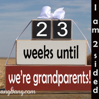 """Pregnancy announcement countdown. Wood Stacking Blocks. """"weeks until we're grandparents"""". Mother's Father's Day. RED, WHITE, BLACK"""