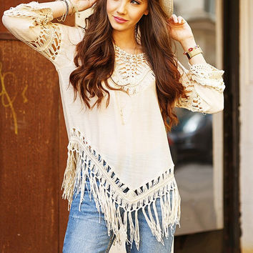 Plain Cutout Fringed V-Neck Shirt