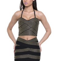 I Am a Survivor Stud Bandage Two Piece Set