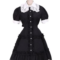TOMSUIT Black Ruffles Short Sleeve Lace Lapel Lolita One-piece