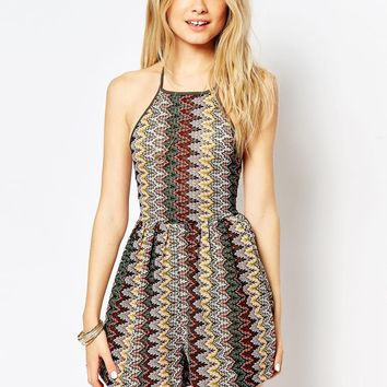 ASOS 90's Halter Playsuit in Zig Zag Knitted Jacquard at asos.com