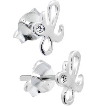925 Sterling Silver Clear Cubic Zirconia H Initial Stud Earrings