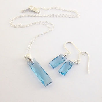 Necklace Set Queen Baguette Crystal Aquamarine and Sterling Silver