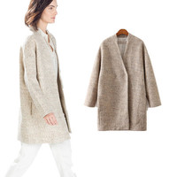 Autumn Winter Women Fleeced Loose Long Sleeve v-Neck Outerwear Jacket Coat a13021