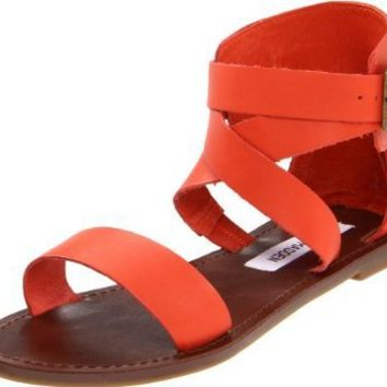 Steve Madden Women's Bethanyy Ankle-Strap Sandal,Coral Leather,6.5 M US