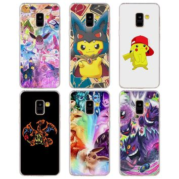 cartoon pokemons eevee pika pattern Soft TPU Silicone clear frame back Phone Case for Galaxy A6 A6+ A8 2018 A8+ A3 A5 A7 2017