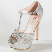 High Heel Glitter Sandal with Mesh and Stones