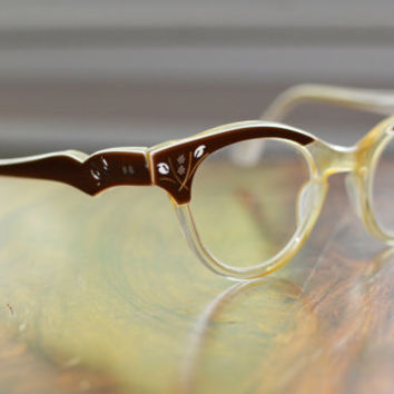 Vintage Brown and Clear Flower design Cat Eyeglasses NOS 44/22 frame france Discount Price Rockabilly, Hipster