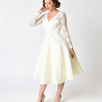 Unique Vintage 1950s Style Ivory Lace Long Sleeve Martinique Swing Dress
