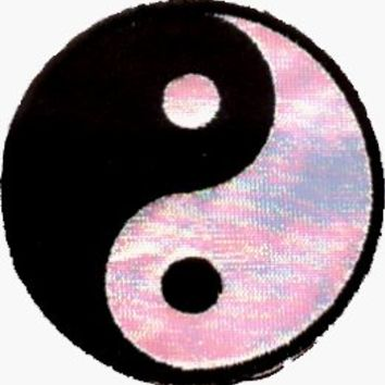 "Yin Yang - 2 1/2"" Black & White IRIDESCENT - Embroidered Iron On or Sew On Patch"