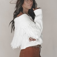 Independent White Off Shoulder Fringe Sweater