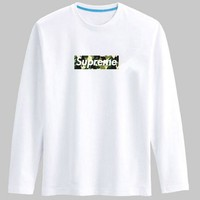 Supreme Long sleeve T-shirt men's pure cotton round collar with a loose code and a young sup top