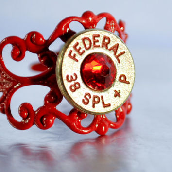 Bullet Ring - Nickel, Red Stone and Lettering - Filigree Bullet Ring