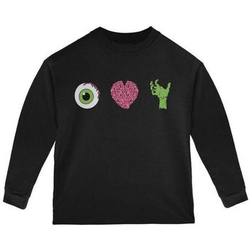 PEAPGQ9 Halloween Eye Heart Zombies Toddler Long Sleeve T Shirt