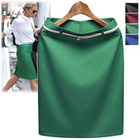Business Suit Pencil OL Skirts with Belt on