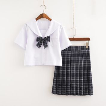 Japanese Harajuku Kawaii School Girls Uniforms JK Plaid Skirt Sailor Suit Uniform Set 3 Style New Free Shipping S-XXL