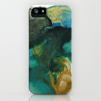 Green and Gold iPhone Case by duckyb