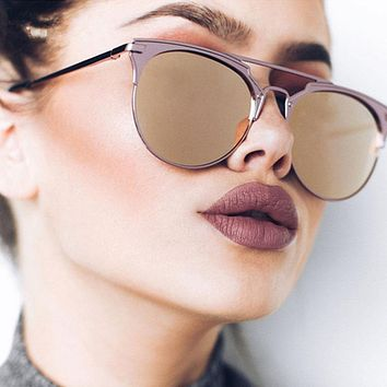 Luxury High Quality Aviator Sunglasses Women Brand Designer Vintage Cat Eye Female Sun Glasses For Women Ladies Sunglass Mirror