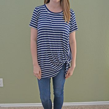 Magic Twist Striped Top: Navy and White