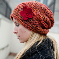 Made to Order Handmade Slouch Hat - Boyfriend Beanie designed for fashion and fit. Gorgeous Spicy hues.  Warm and adorable.