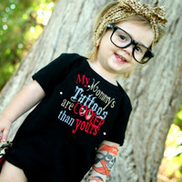 mommys tattoos, tattoo inspired, boy, girl, unisex, punk, rock, leopard, black, red, photo prop, photography, gift, baby shower, present,